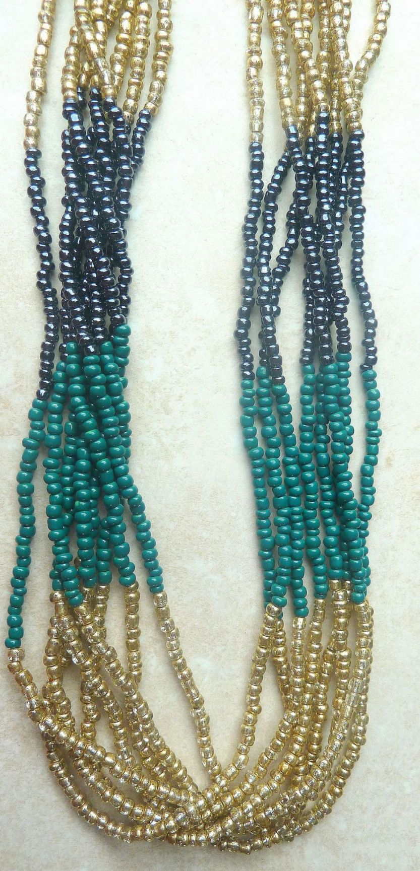 Vintage Style Long Faux Gemstone Seed Bead Necklace
